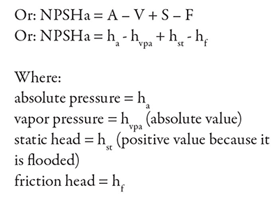 NPSH Calculation: NPSHa alternate equations